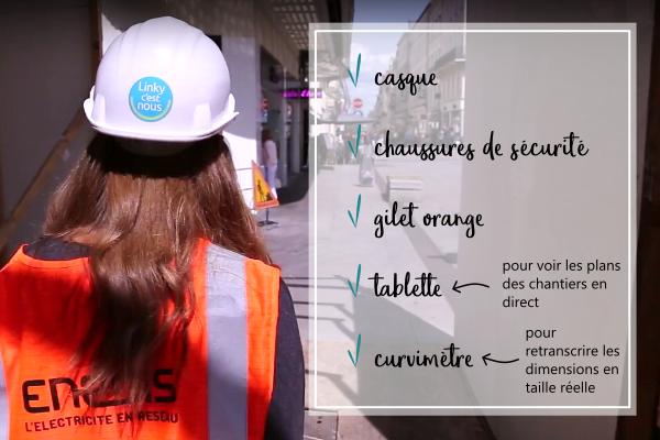 La panoplie de la chargée de projet : casque, chaussures de sécurité, gilet orange, tablette, curvimètre