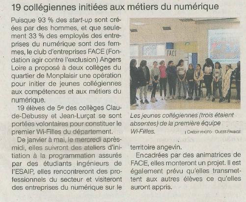 On parle de Wi-Filles dans le journal Ouest France